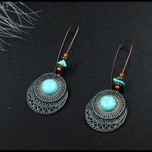 Jewelry - Boho turquoise dangling pierced earrings